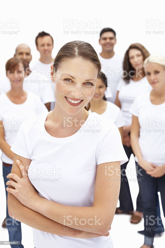 Woman with diverse group in background royalty-free stock photo