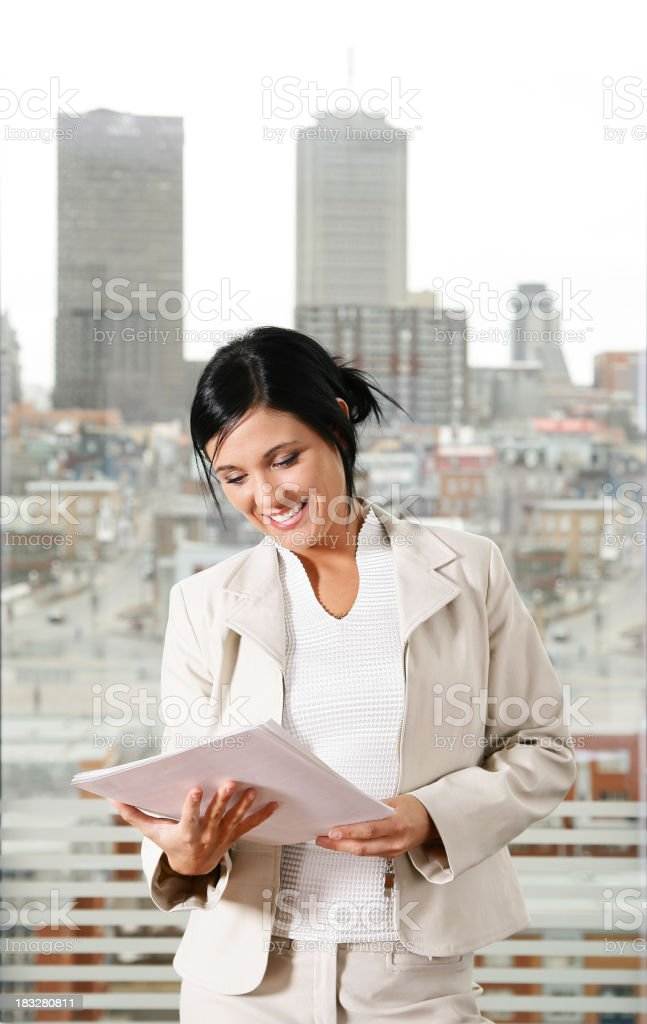 Woman with document royalty-free stock photo