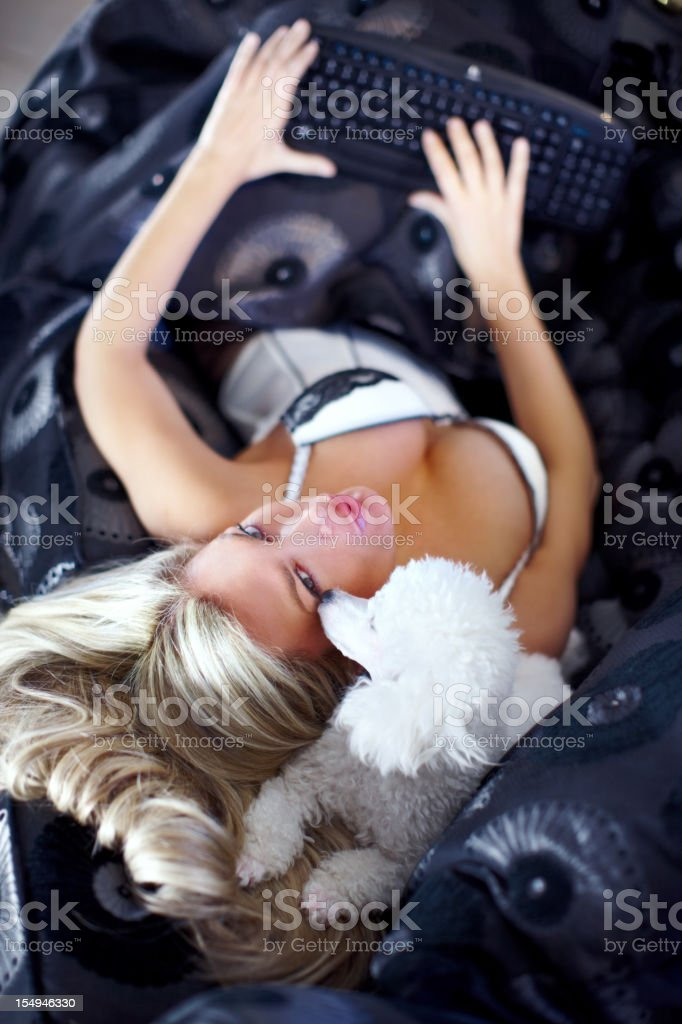 Woman with dog royalty-free stock photo