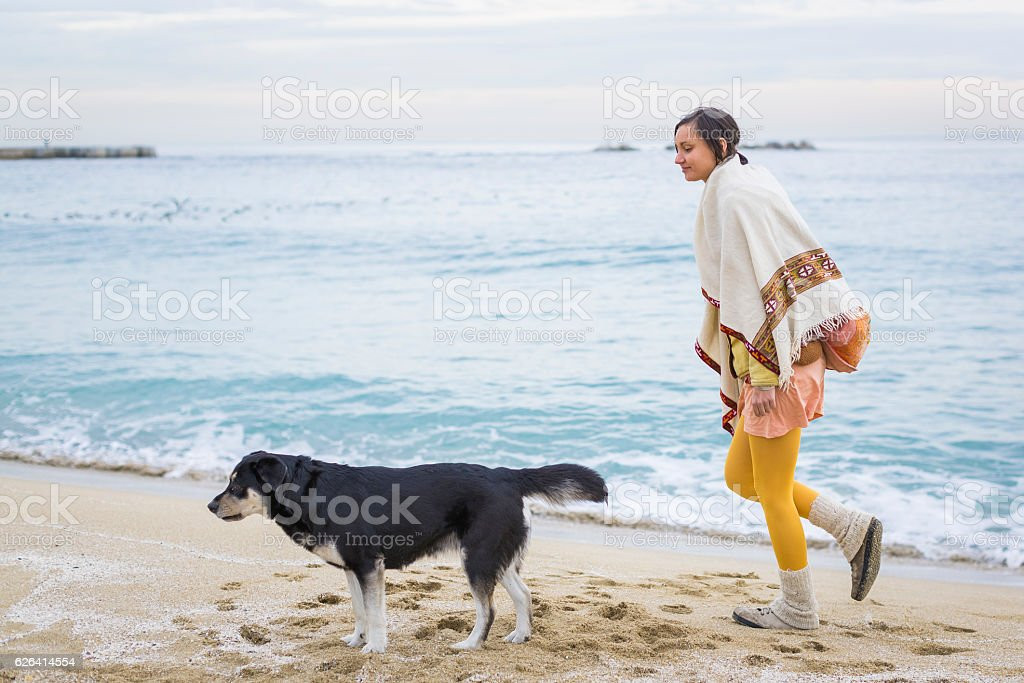Woman with dog walking on the beach stock photo