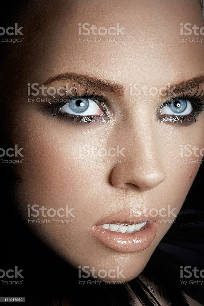 Woman With Dramatic Makeup stock photo