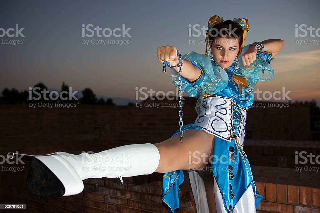 Woman with dress for Cosplayers stock photo