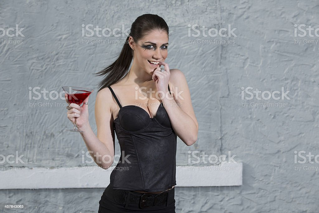 Woman with drink stock photo