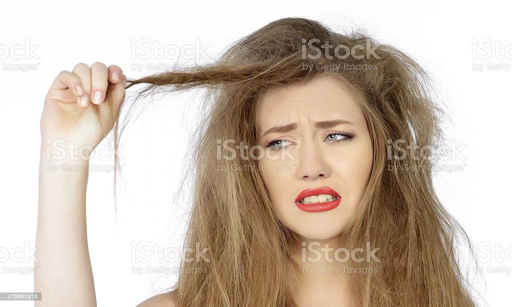 woman with dry hair stock photo