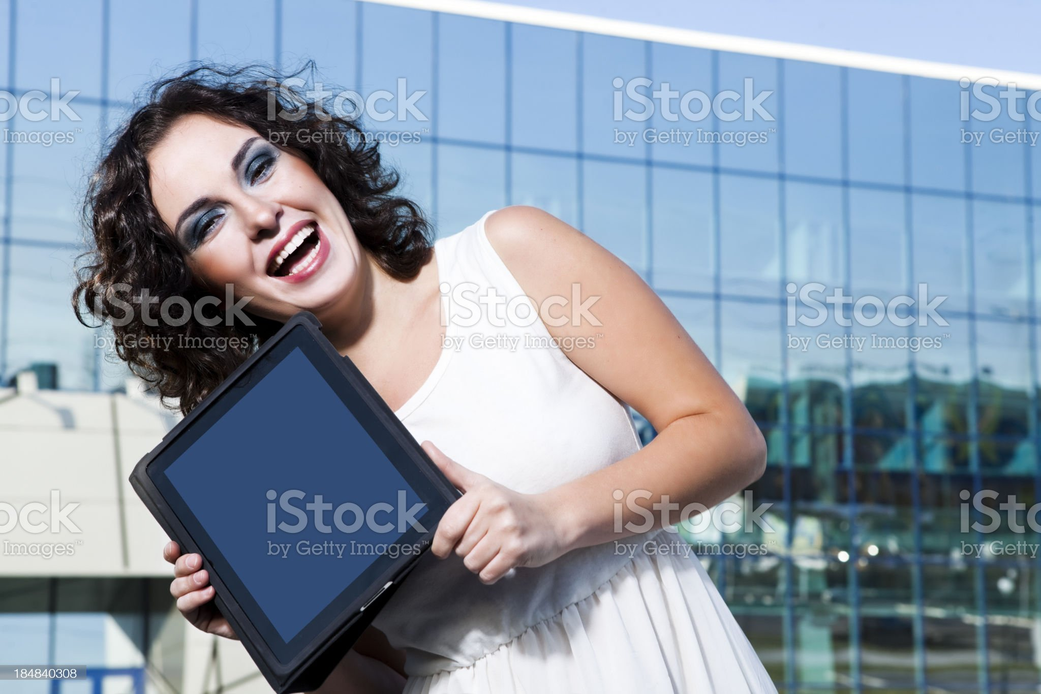Woman with  e-book royalty-free stock photo