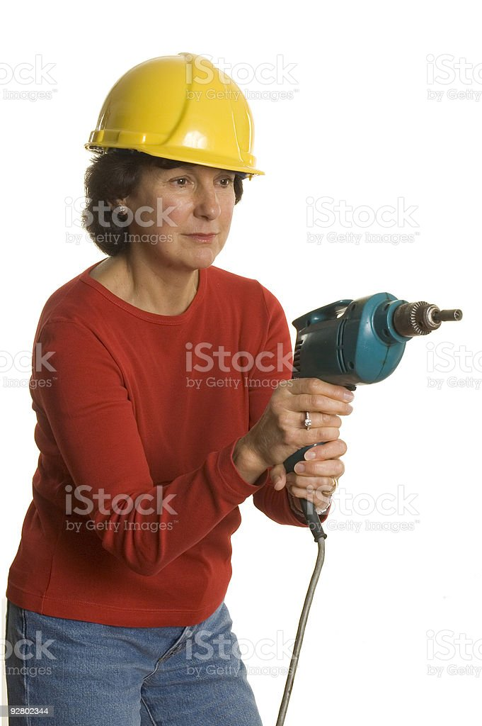 woman with electric drill royalty-free stock photo