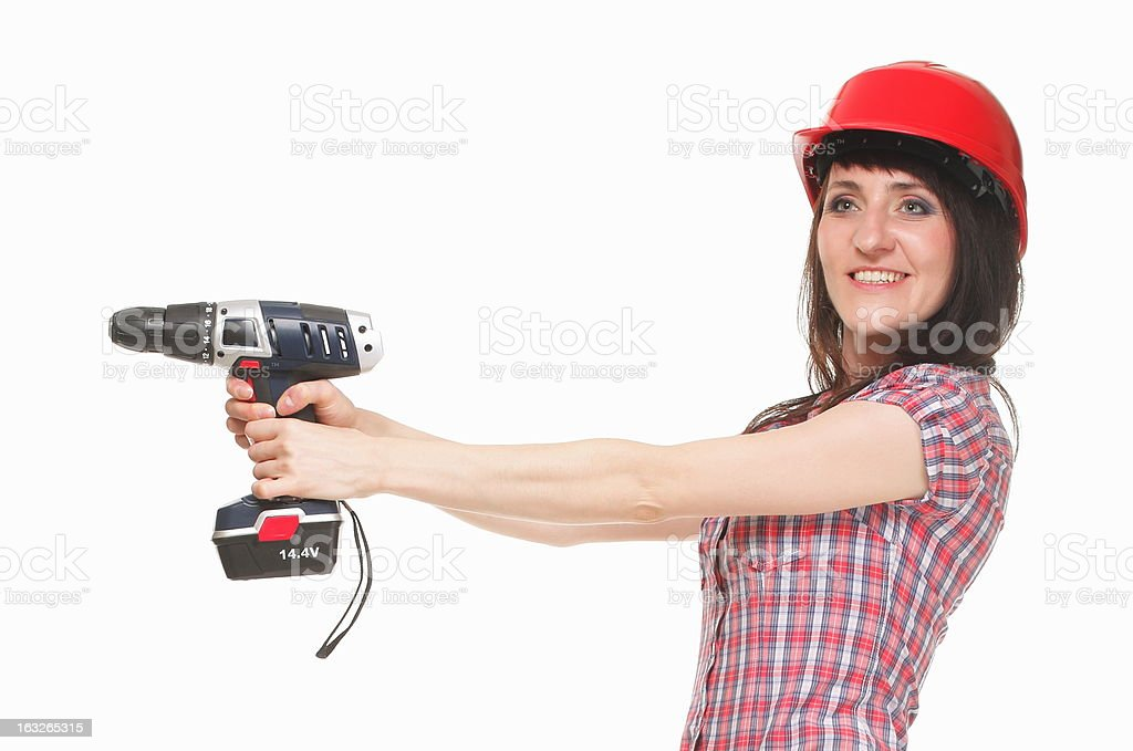 Woman with electric screwdriver in hands royalty-free stock photo