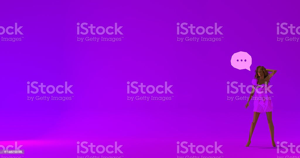 Woman with ellipsis low poly 3d render illustration stock photo