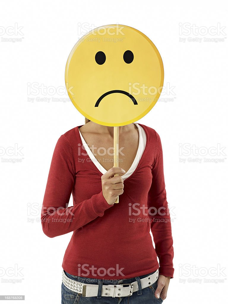 woman with emoticon royalty-free stock photo