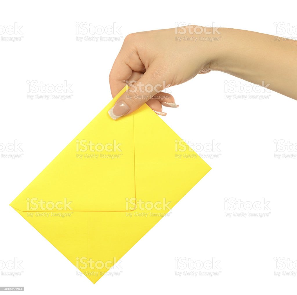 woman with envelope stock photo