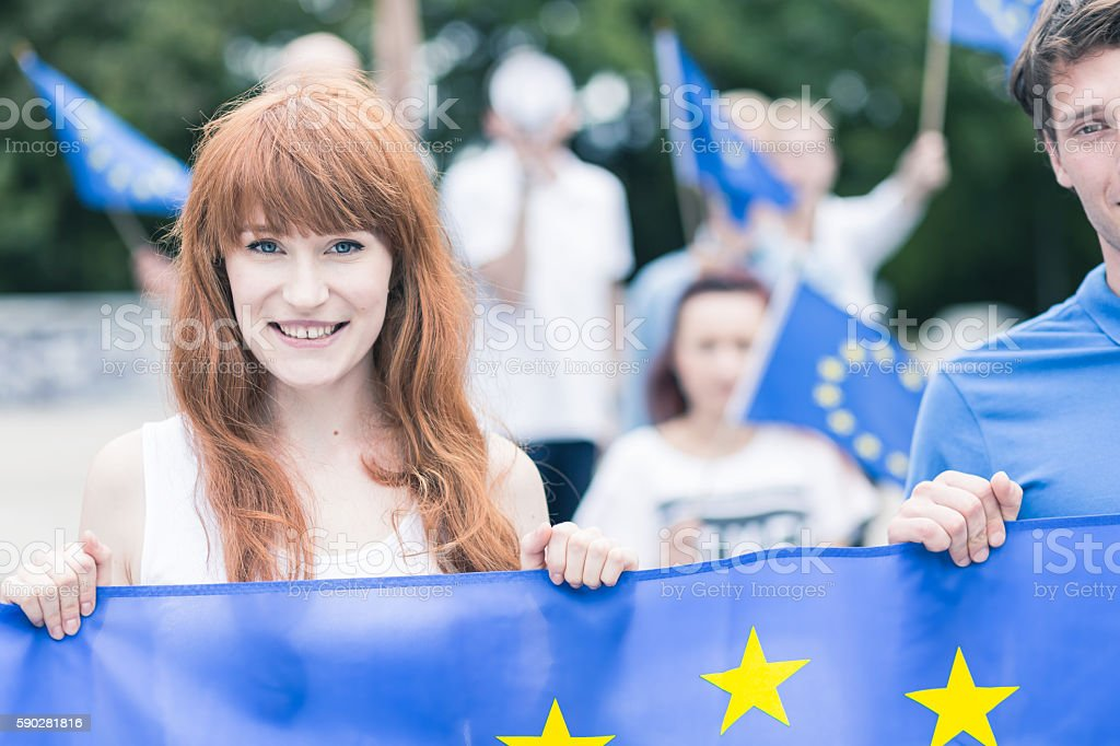 Woman with European Union flag stock photo