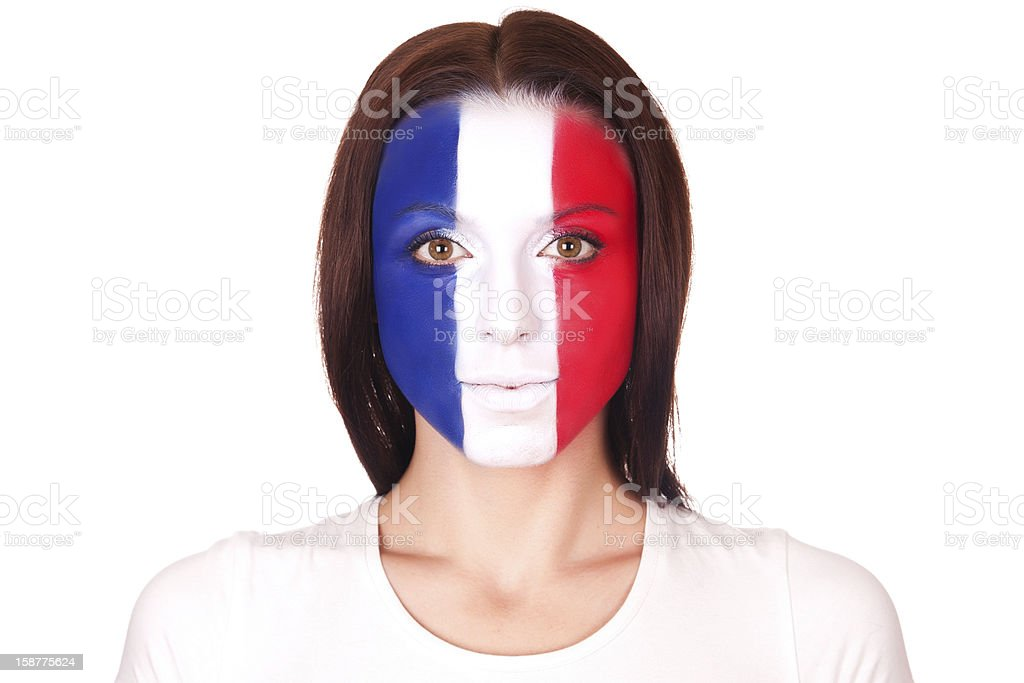 Woman with face paint  flag of France stock photo
