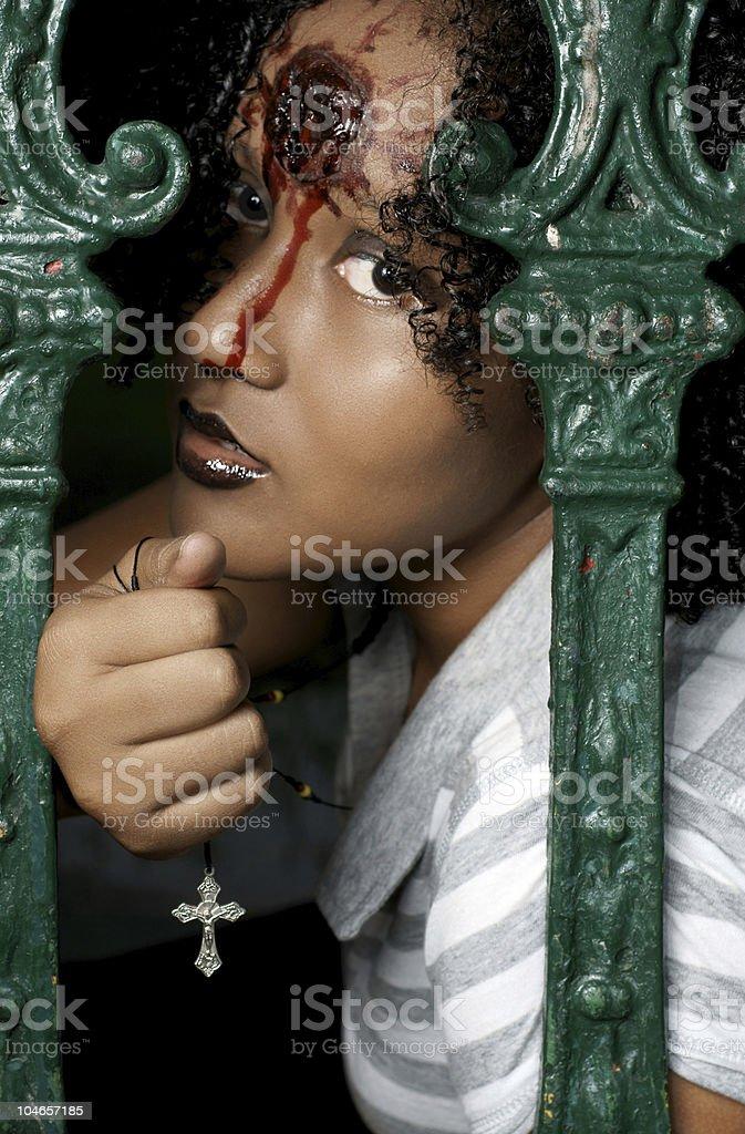 Woman with fake gunshot wound stock photo