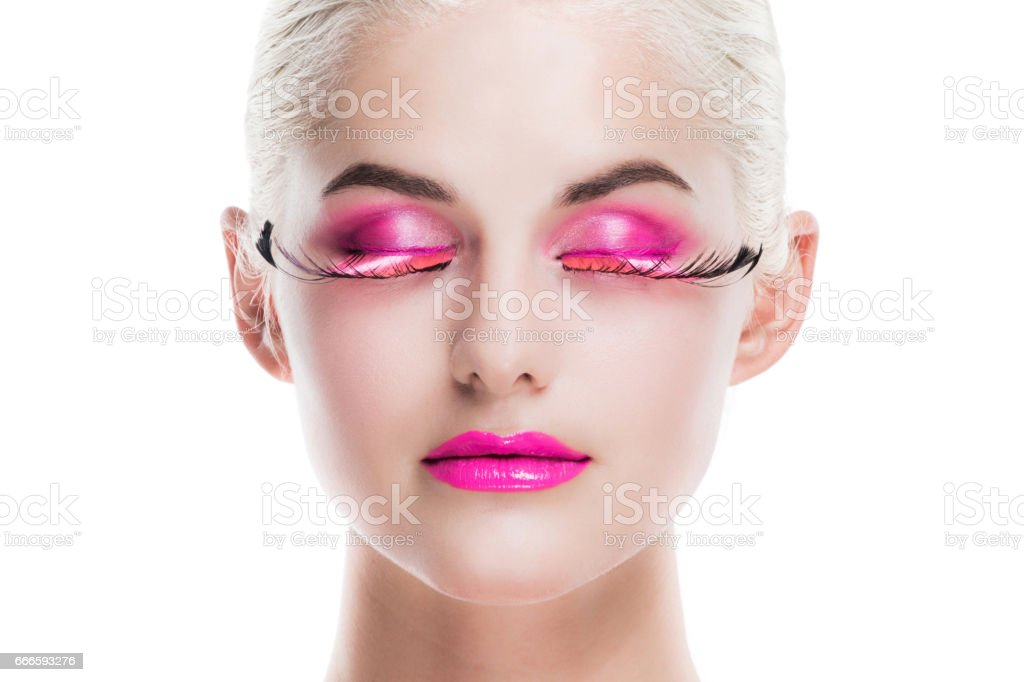 Woman with fancy make-up stock photo