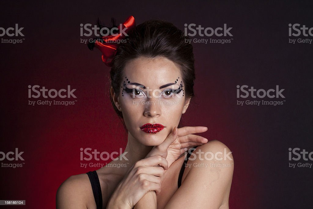 Frau mit Mode-Make-up Lizenzfreies stock-foto