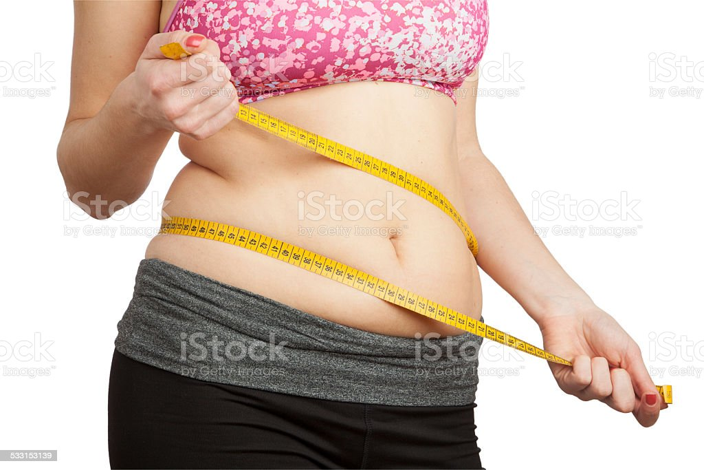 Woman with fat belly stock photo