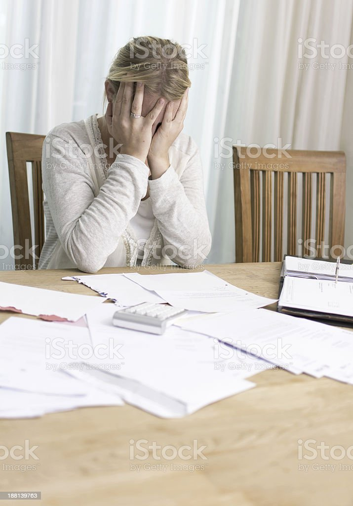 woman with financial problems stock photo
