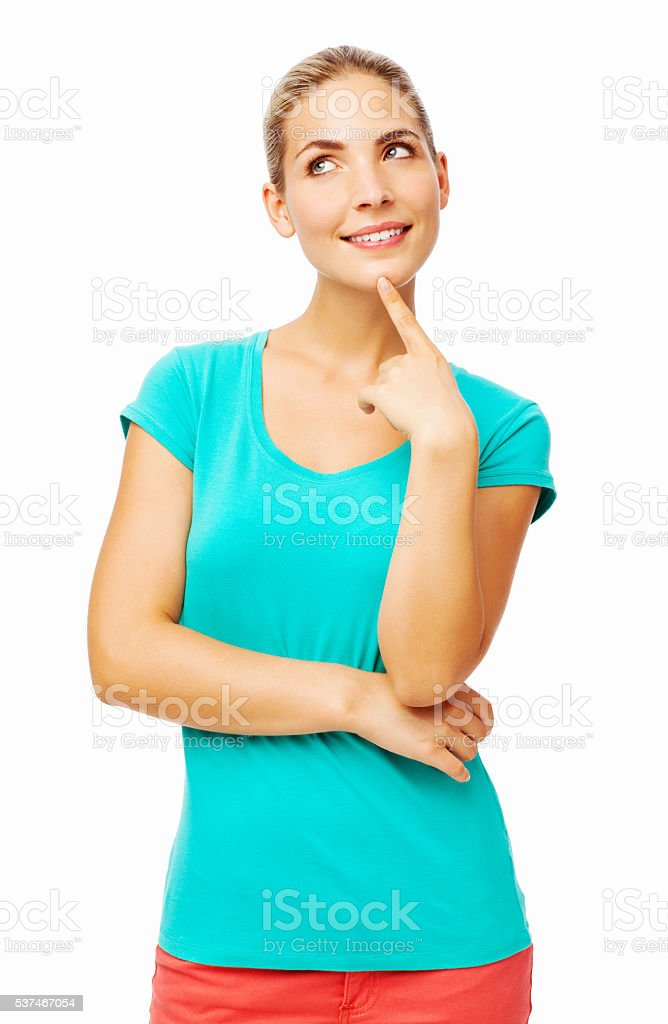 Woman With Finger On Chin Looking Up stock photo