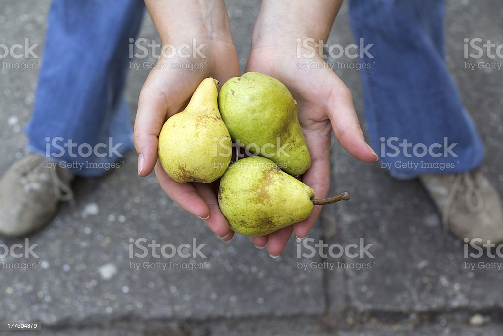 Woman with five pears royalty-free stock photo