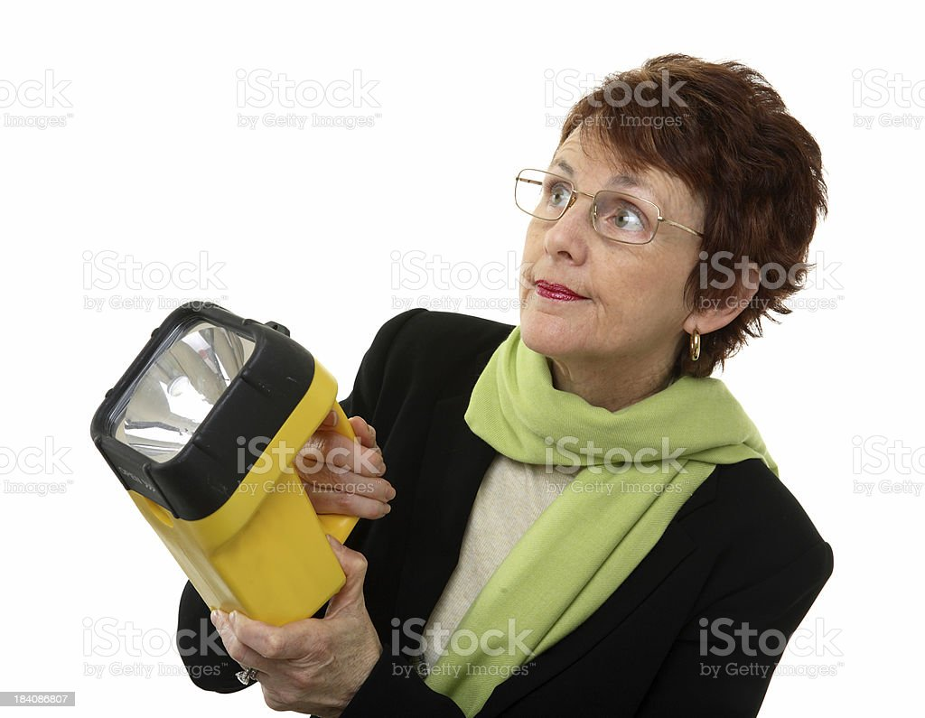 Woman with flashlight royalty-free stock photo
