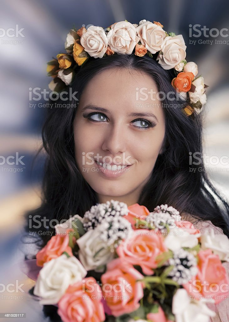 Woman with Floral Wreath and Bouquet royalty-free stock photo