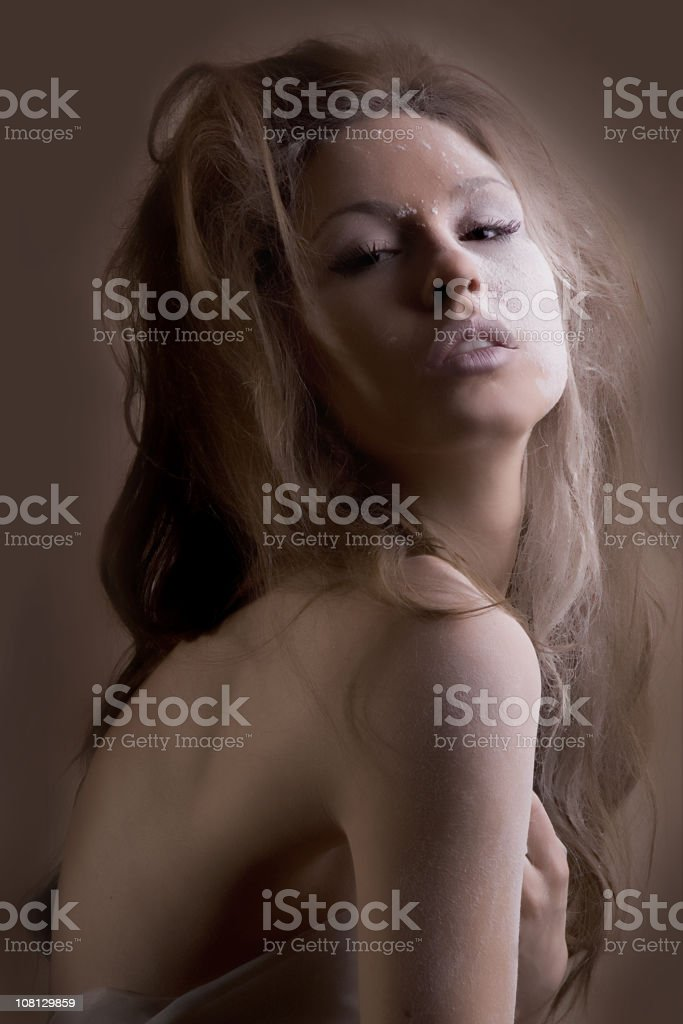 Woman with Flour on Face royalty-free stock photo