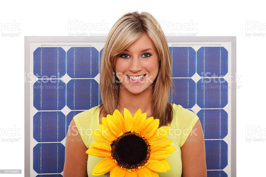 Woman With Flower And Solar Panel royalty-free stock photo