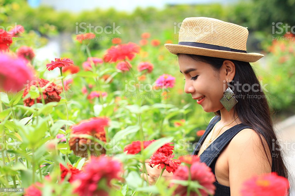 woman with flower stock photo