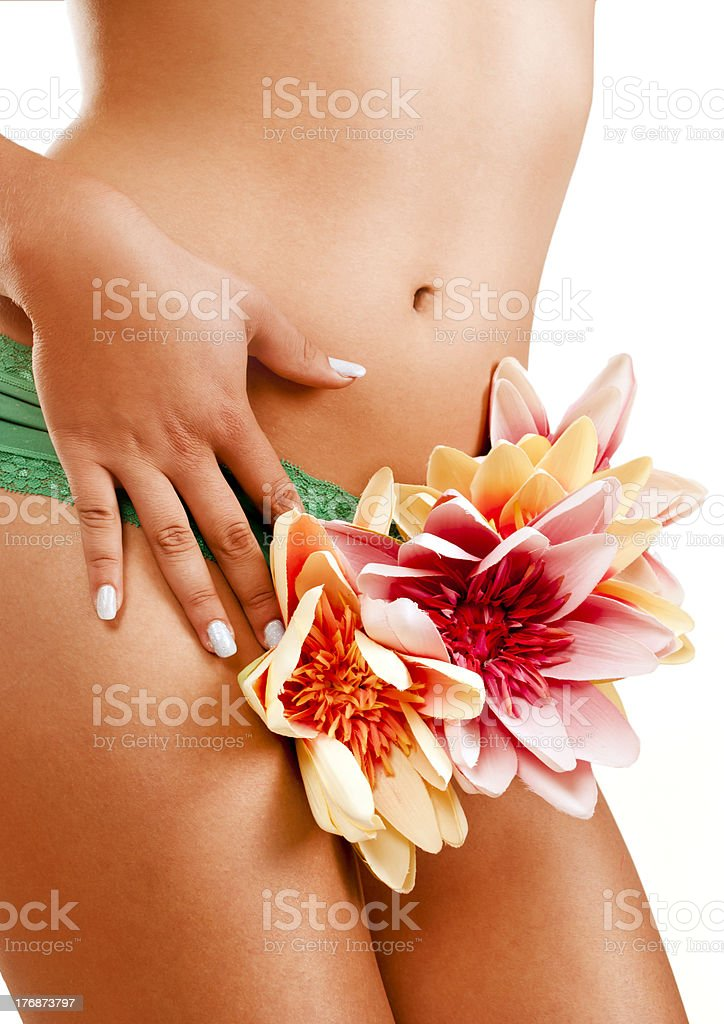 Woman with flowers arround her body royalty-free stock photo
