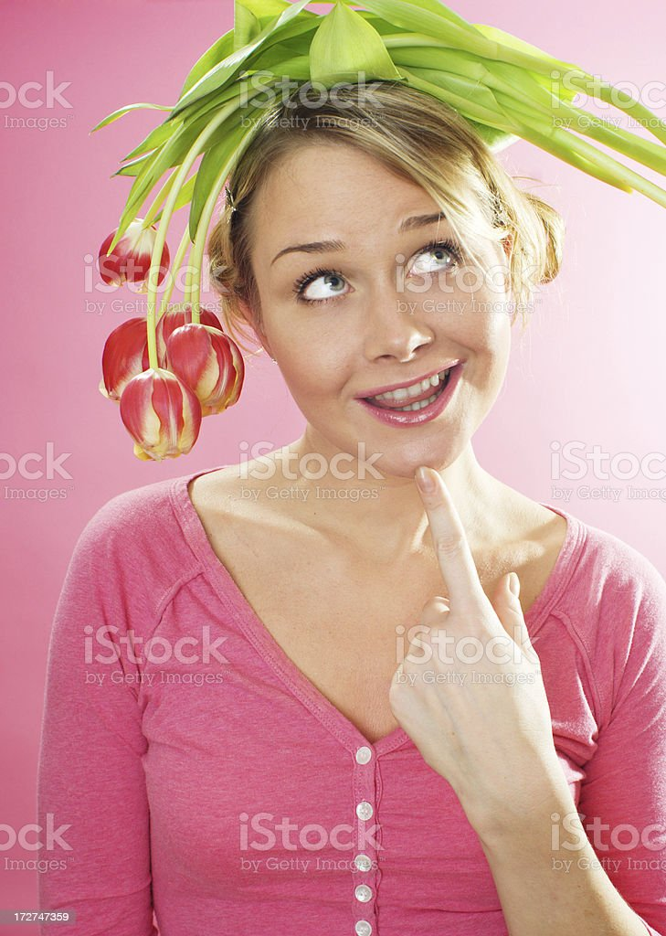 woman with flowers on her head stock photo