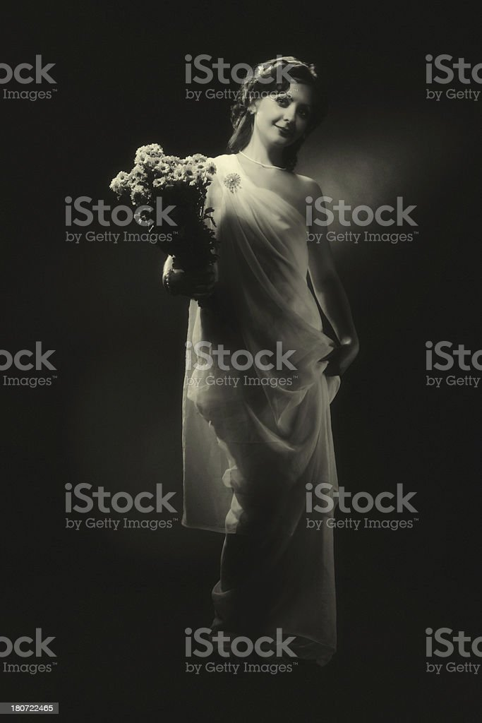 Woman with Flowers royalty-free stock photo