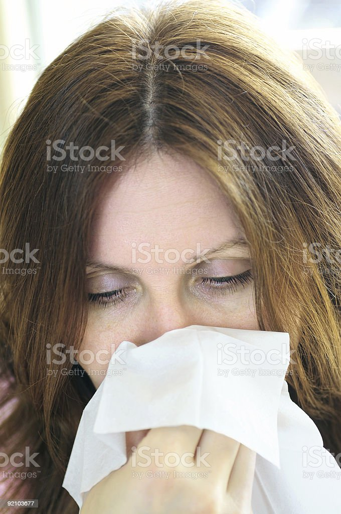Woman with flu or allergy royalty-free stock photo