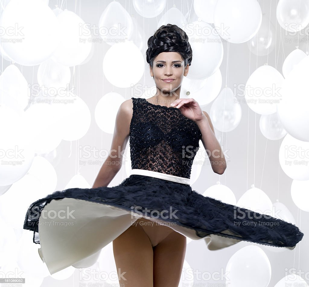 woman with flying dress royalty-free stock photo