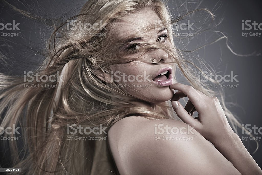 woman with flying hair royalty-free stock photo