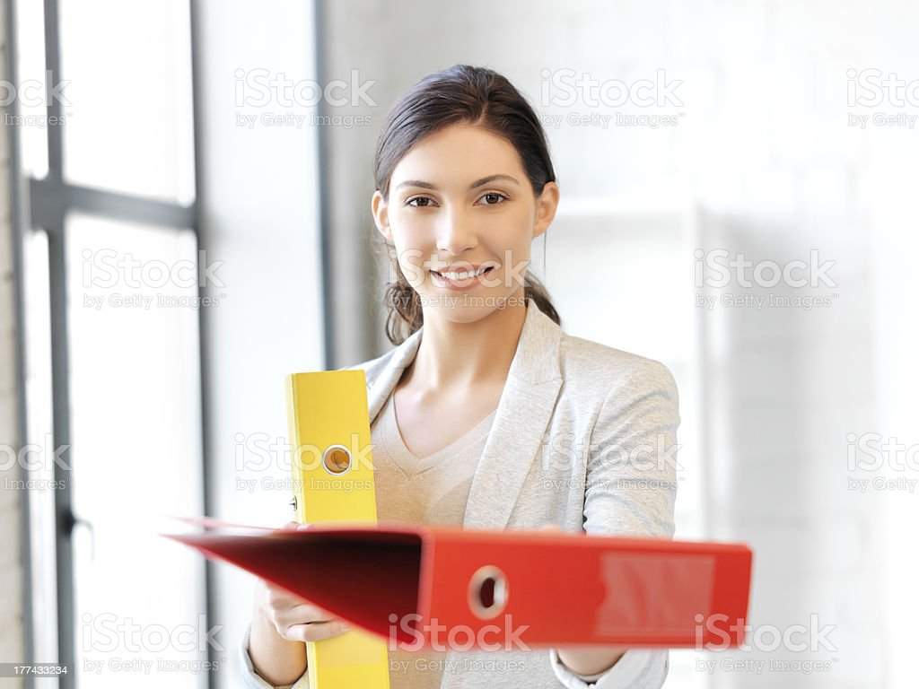 woman with folder stock photo