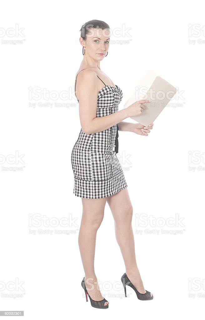 Woman with folder royalty-free stock photo