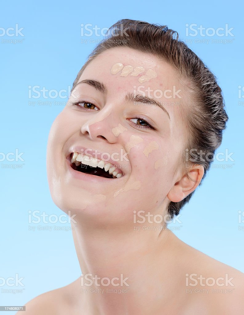 woman with foundation royalty-free stock photo
