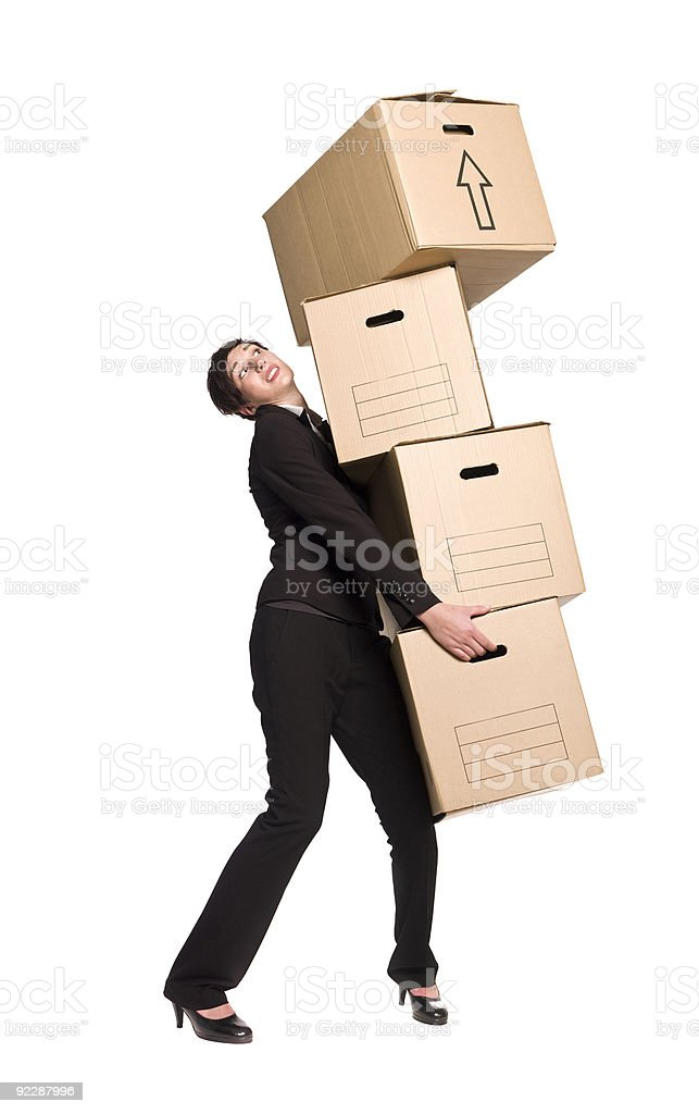 Woman with four boxes stock photo