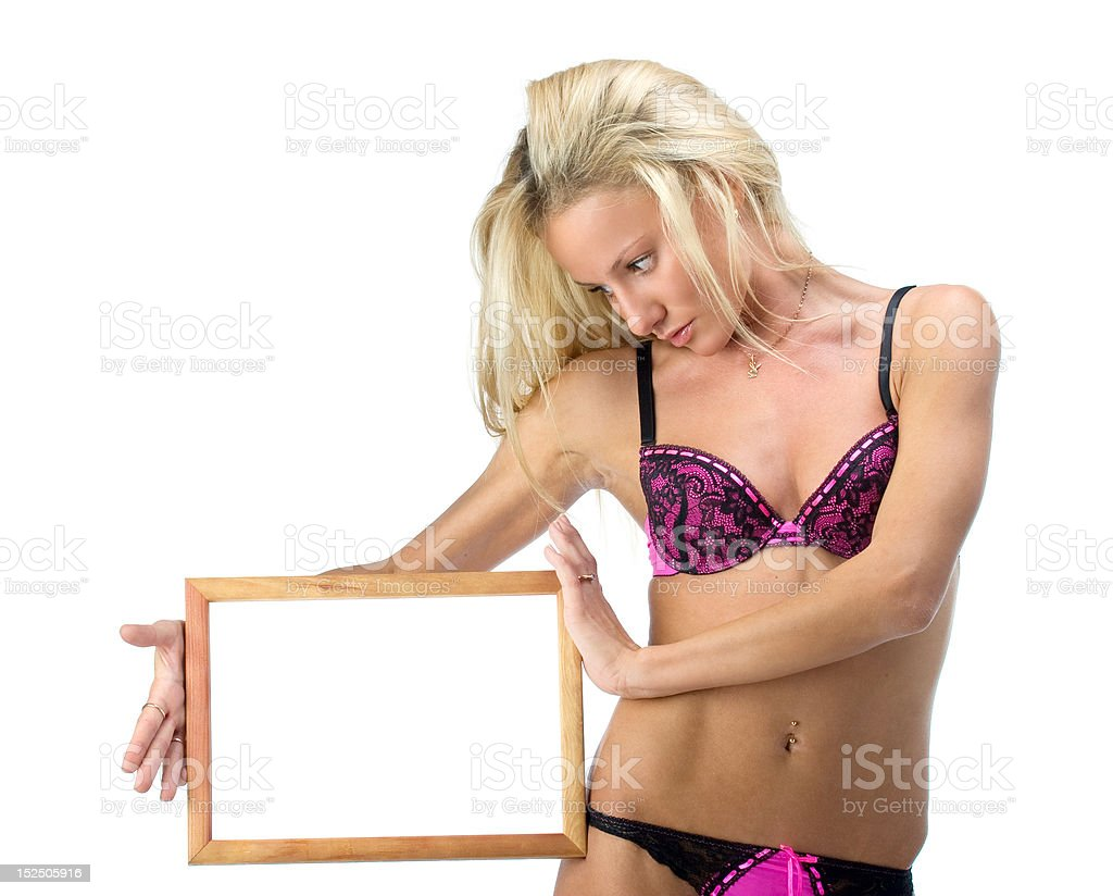Woman with frame royalty-free stock photo