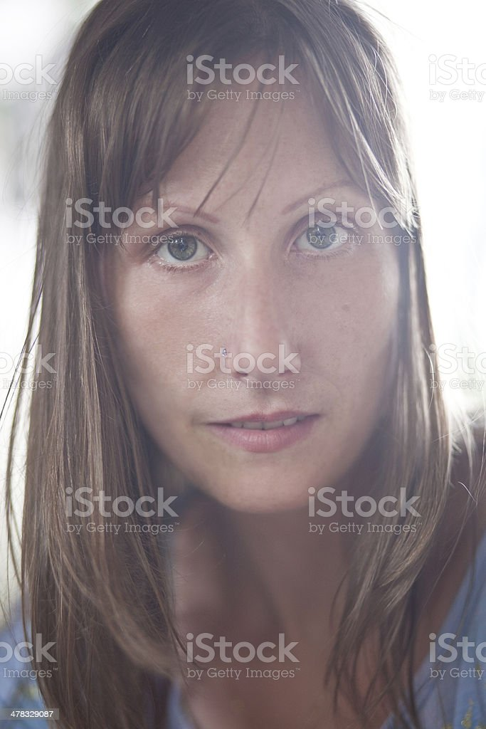 Woman with freckles royalty-free stock photo