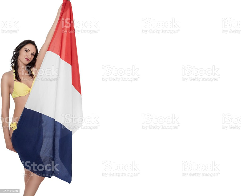 woman with french flag stock photo