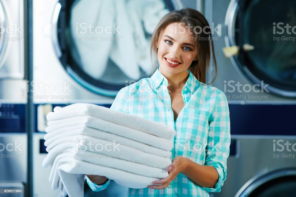 Woman with fresh soft linen stock photo