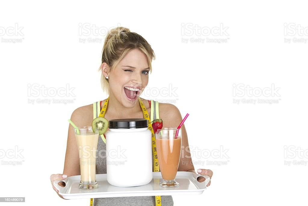 woman with fruit smoothie stock photo