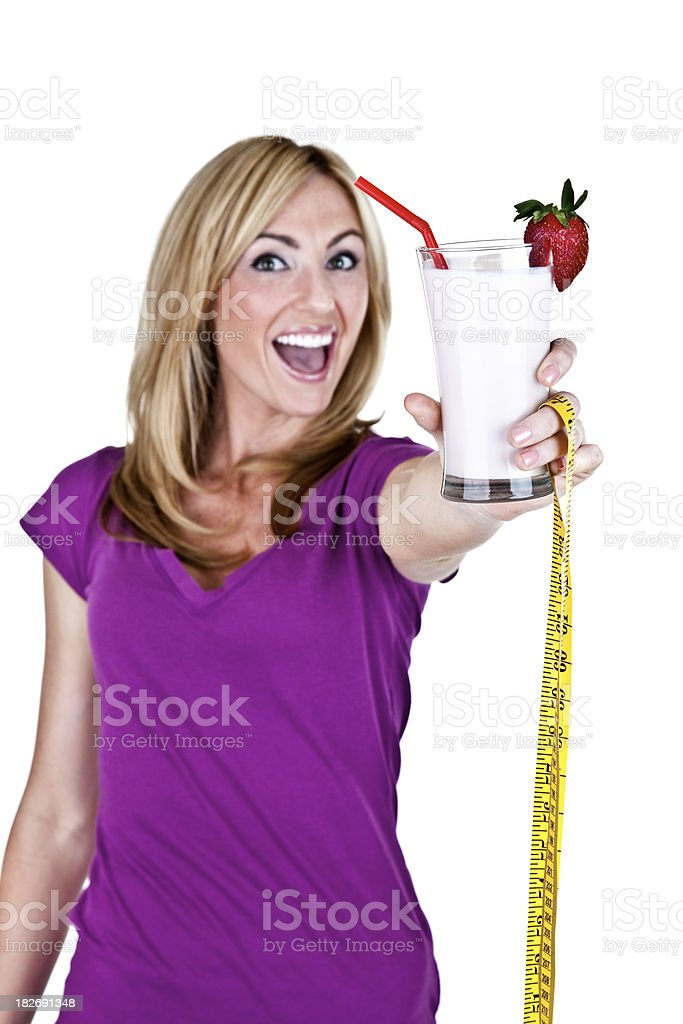 Woman with fruit smoothie royalty-free stock photo