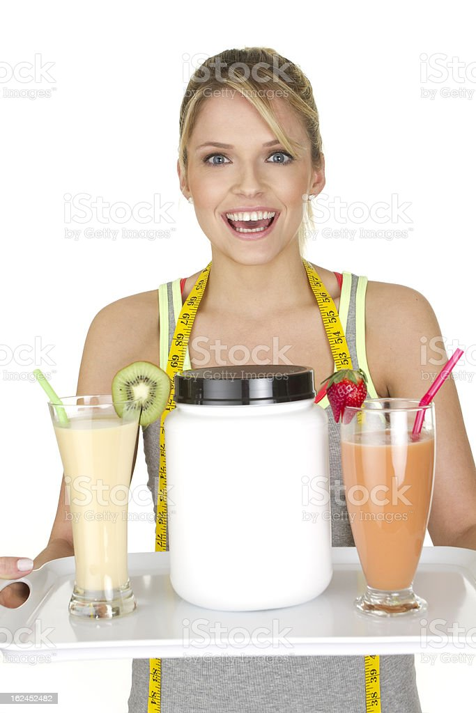 woman with fruit smoothies stock photo