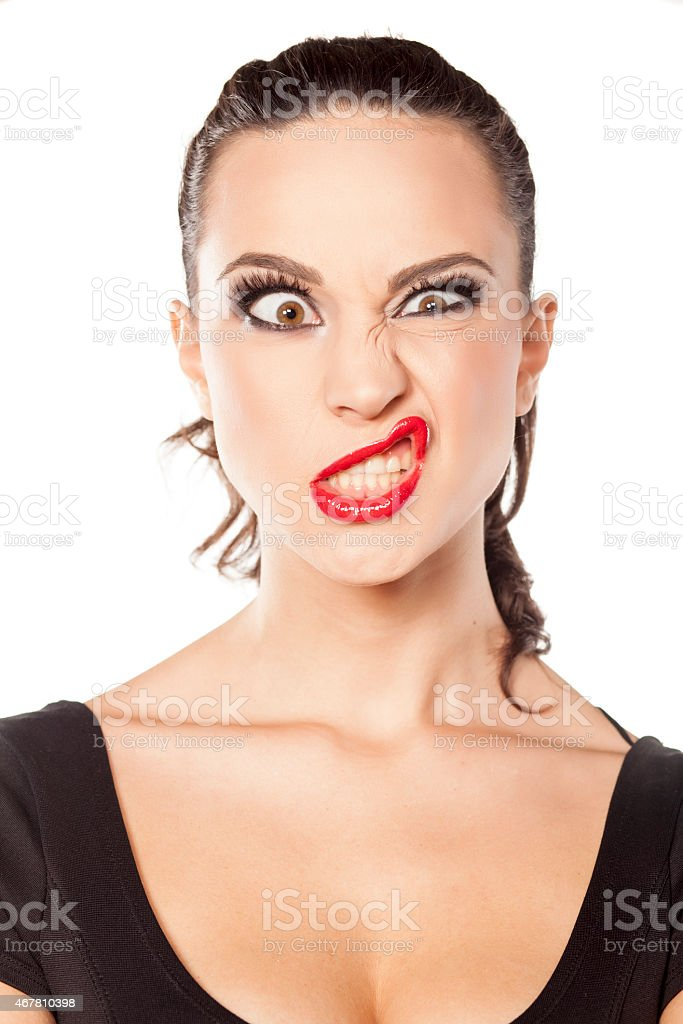 woman with funny face stock photo