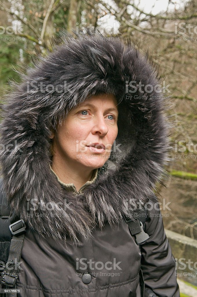 Woman with Fur Hood royalty-free stock photo