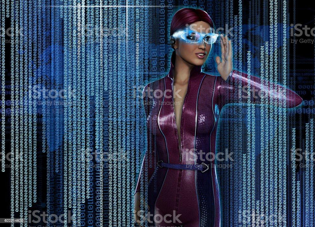 Woman with Futuristic HUD Display Glasses stock photo