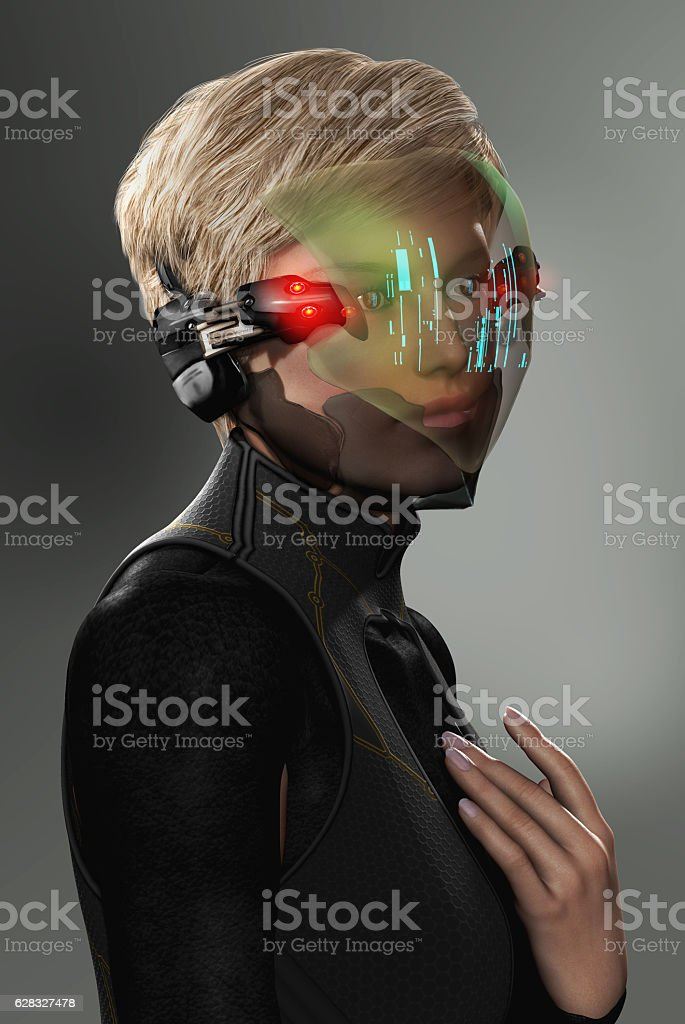 Woman with Futuristic HUD Display Visor stock photo