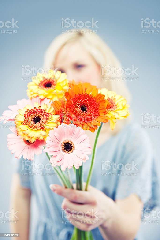 woman with gerbera royalty-free stock photo